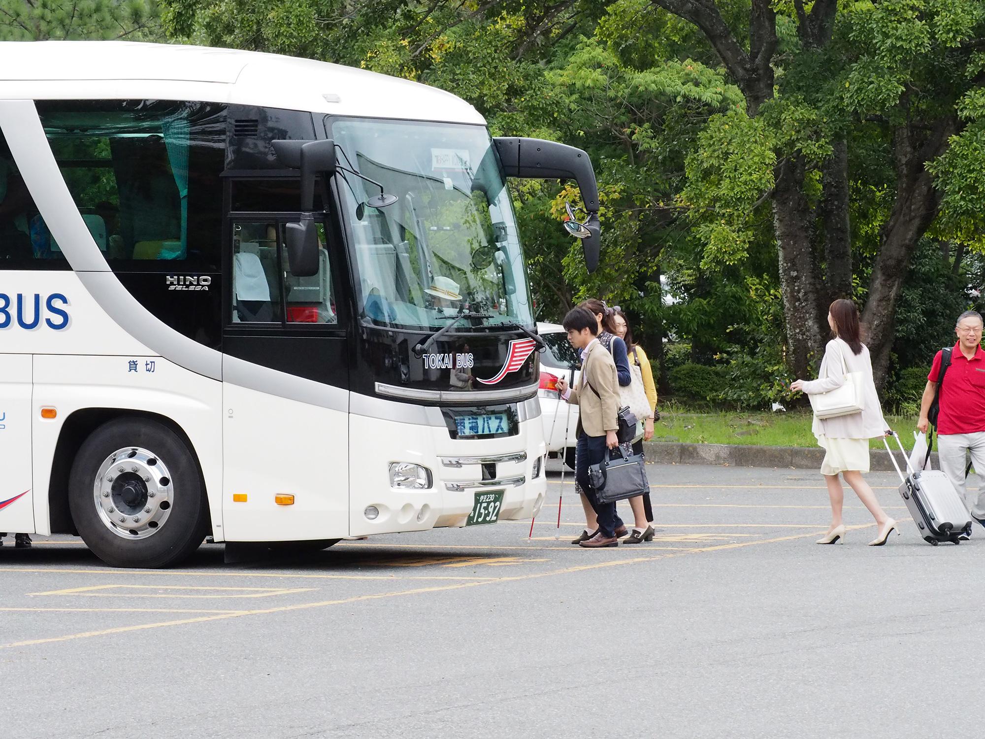 観光バス乗車